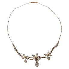 Antique Edwardian Rolled Gold and Natural Cultured Seed Pearl Floral Necklace