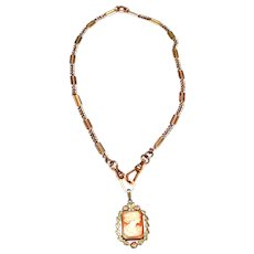 Antique Edwardian Rolled Gold Watch Chain with Antique Edwardian Rolled Gold Cameo