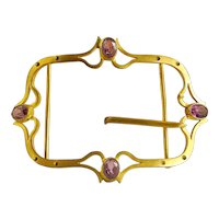 Antique Art Nouveau Brass Belt Buckle,  Amethyst Glass