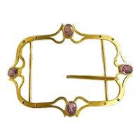 Antique Art Nouveau Belt Buckle in Brass and Amethyst Glass