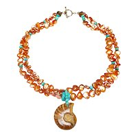 Natural Ammonite on Double Strand of Cultured Keshi Peals and Natural Turquoise