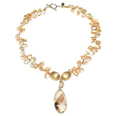 Natural, Rutilated Quartz Pendant on Necklace of Champagne Coloured Cultured Keshi Pearls