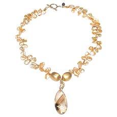 Rutilated Quartz  on  Cultured Keshi Pearls