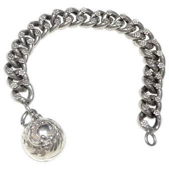 Antique Victorian French Silver Chain Bracelet with Embossed Silver Ball Charm