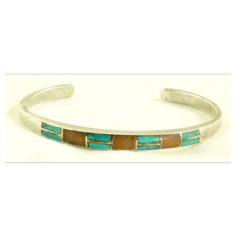 Vintage Zuni Sterling Silver Cuff Bracelet Inlaid with Natural Turquois and Coral