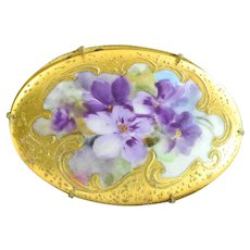 Antique Victorian Porcelain Pin Brooch of Hand Painted Violets