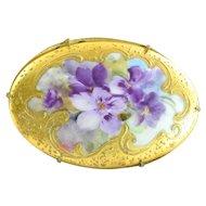 Victorian Porcelain  Brooch,  Hand Painted Violets