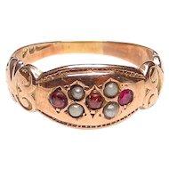 Victorian 9K Gold Garnet,  Pearl Ring