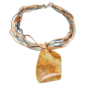 Large Natural Agate Slice on Necklace of Silk Cords