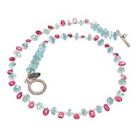 Delicate Necklace of Pink Tourmaline Briolettes and Aquamarine