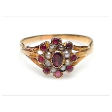 Antique Georgian 9K Gold Garnet and Pearl Cluster Ring