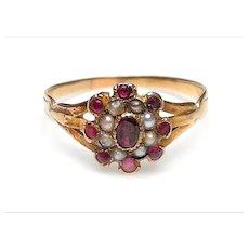 Georgian 9K Gold Garnet,  Pearl Cluster Ring