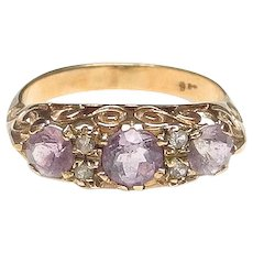 Antique Victorian Amethyst and Diamond 9K Gold Ring