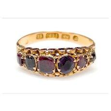Victorian 15K Gold Amethyst, Garnet,  Emerald Ring
