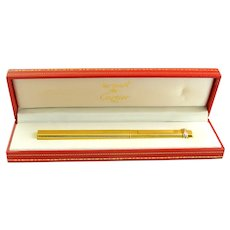 Rare, Vintage Les Must de Cartier Gold Plated Ballpoint Pen in Original Cartier Box