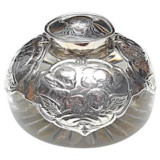 Antique Victorian Sterling Silver and Cut Rock Crystal Angel Inkwell