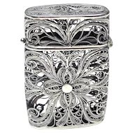 Antique Italian Filigree  Silver  Match Safe