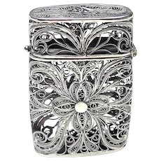 Antique Italian Filigree  Silver  Match Safe