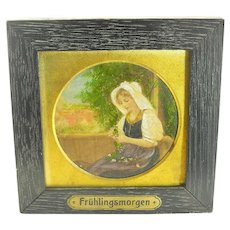 Antique Victorian German Painting on Glass