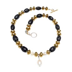 Natural Cultured Teardrop Pearl with necklace of Brass, Cultured Pearls and Etched Natural Onyx