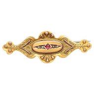 Victorian 9 K Gold Etruscan  Bar Brooch,  Pearls,  Garnet