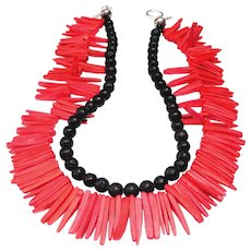 Double Strand Necklace of Feather-like wood and Natural Black Lava Beads.