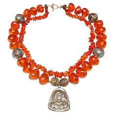 Double Strand Necklace of Natural Amber and Copal Enhance an Afghan Gold Plated Pendant
