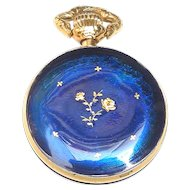 Vintage Swiss Enamel Pendant Watch by Atlanta of Geneva