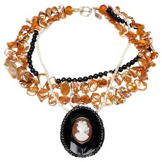 Cameo and Jet Shoe Buckle on Multi Strand Necklace of Cultured Keshi Peals, Cultured Rice Pearls and Mat Natural Onyx Beads