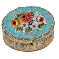 Vintage Italian Glass Mosaic Pill Box