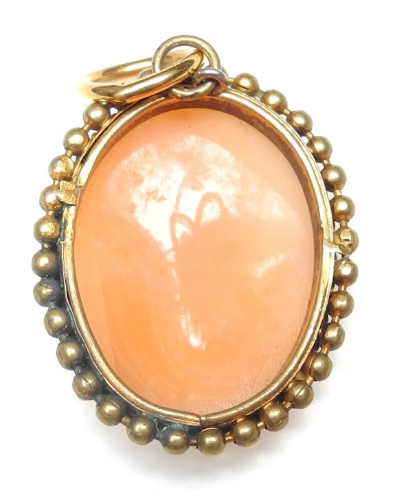 Vintage italian cameo pendant gold plated setting barbara acton vintage italian cameo pendant gold plated setting aloadofball Image collections