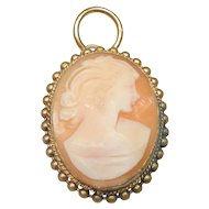 Vintage Italian Cameo Pendant, Gold Plated Setting