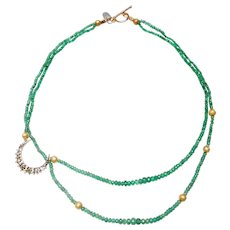 Emerald 14 Carat Gold Crescent Moon on Double Strand Necklace of Gem Quality Natural Emeralds