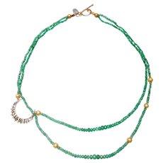 Victorian Emerald 14K Gold  Moon, Double Strand Columbian Emeralds
