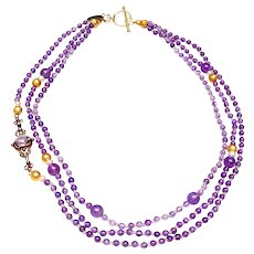 Three Strand Necklace of Natural Amethyst, 18K Gold,  Pendant of 9K gold, Amethyst and Seed Pearls