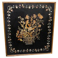 Antique Victorian Silk Embroidered Basket of Flowers