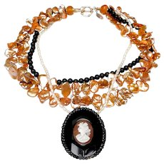 Stunning Antique Jet/ Cameo, on Multi-Strands of Pearls & Onyx