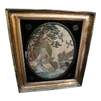 Antique Regency Framed Silk Embroidery of Biblical Patriarch in Nature