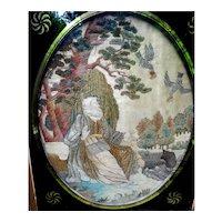 Antique Regency Framed Silk Embroidery of Noah and Birds