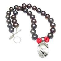 Silver  Tourmaline Quartz on Cultured  Pearls, Bamboo Coral