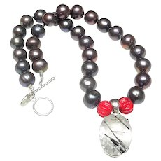 Silver  Tourmaline Quartz on Cultured  Pearls, Bamboo Coral