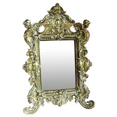 Victorian Standing Brass Framed Mirror