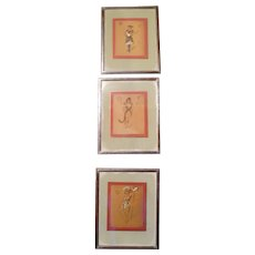 Rare Set of Three Art Nouveau Belgian, Mixed Media Studies for Ballet Costumes