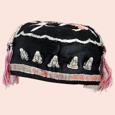 Antique, 19th Century, Chinese Child's Hat in Embroidered Silk with Silver Buddhas