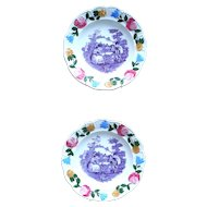 Pair of Antique Early 19th Century Staffordshire Purple Transfer Ware Plates with Hand Painted Border