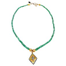 Natural Columbian Emerald necklace with  Diamonds and Emeralds set in  Complex Gold on Silver Pendant