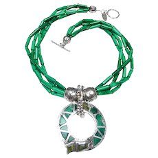 Victorian Celtic  Malachite, Sterling Silver on Four Strand of Malachite, Sterling Silver