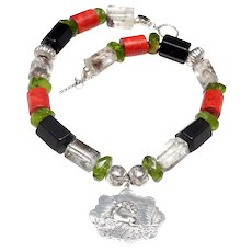 Victorian Sterling Silver, on Peridot, Moss Crystal, Jet,  Coral,  Silver