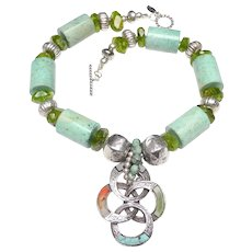 Old Celtic Style Natural Agate and Pewter Pendant, on a Necklace of Silver, Natural Chrysocolla and Peridot
