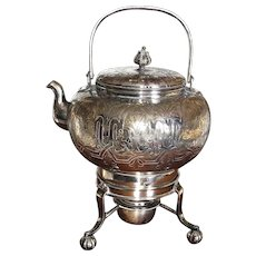 Anglo/English Victorian Silver Plated Tea Kettle on Stand  by Henry Fielding, Birmingham